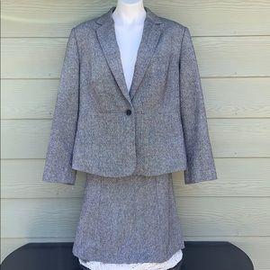 Calvin Klein Wool Blend Skirt Suit in Gray Tweed